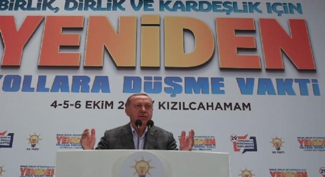 """Cumhurbaşkanı Erdoğan, 'Ne vesayetçilere, ne darbecilere, ne terör örgütlerine, ne de iç-dış siyasi ve ekonomik tetikçilere eyvallah etmedik"""" dedi."""
